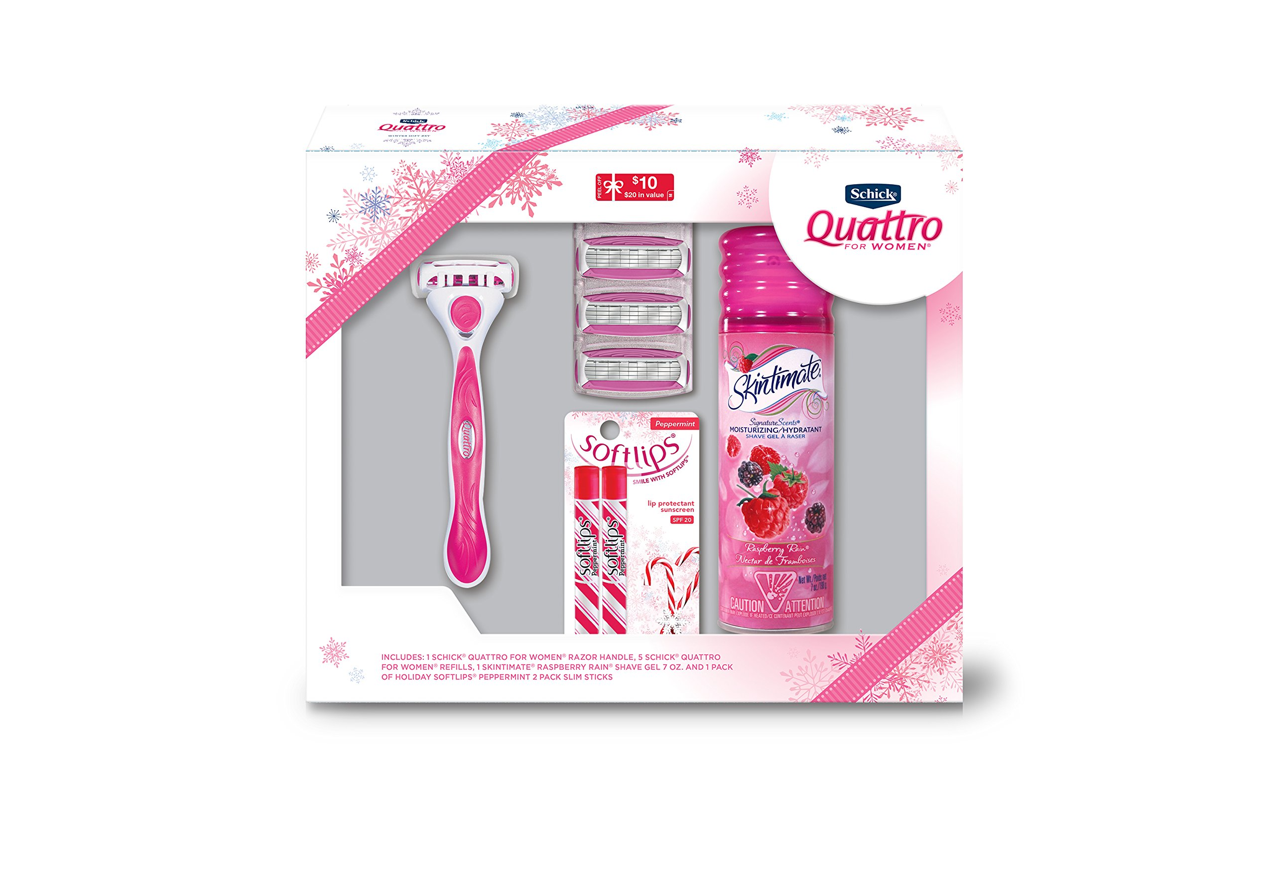 Holiday Gift Set - Schick Quattro for Women with Skintimate Shave Gel and Softlips Peppermint Chapstick