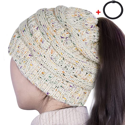 Sierry Womens Confetti Knit Beanie Hat Soft Stretch Cable Hat With