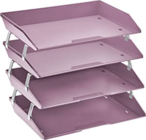 Acrimet Facility 4 Tier Letter Tray Side Load Plastic Desktop File Organizer (Solid Purple Color)