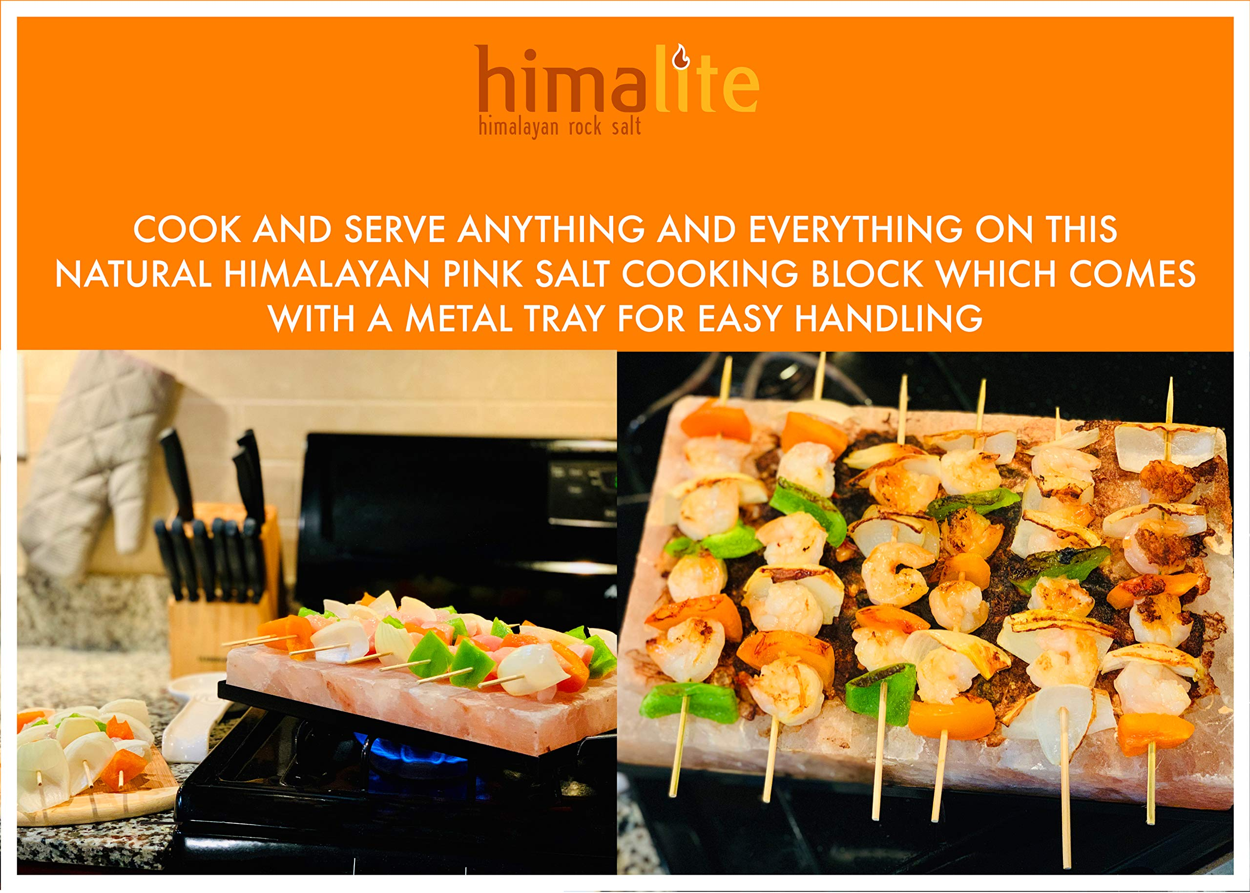 Himalite Himalayan Pink Salt Cooking Block and Tray Set 12'' x 8'' x 1.5'' for Cooking, Grilling, Cutting and Serving with Metal Tray Himalayan Rock Salt by Himalite (Image #5)