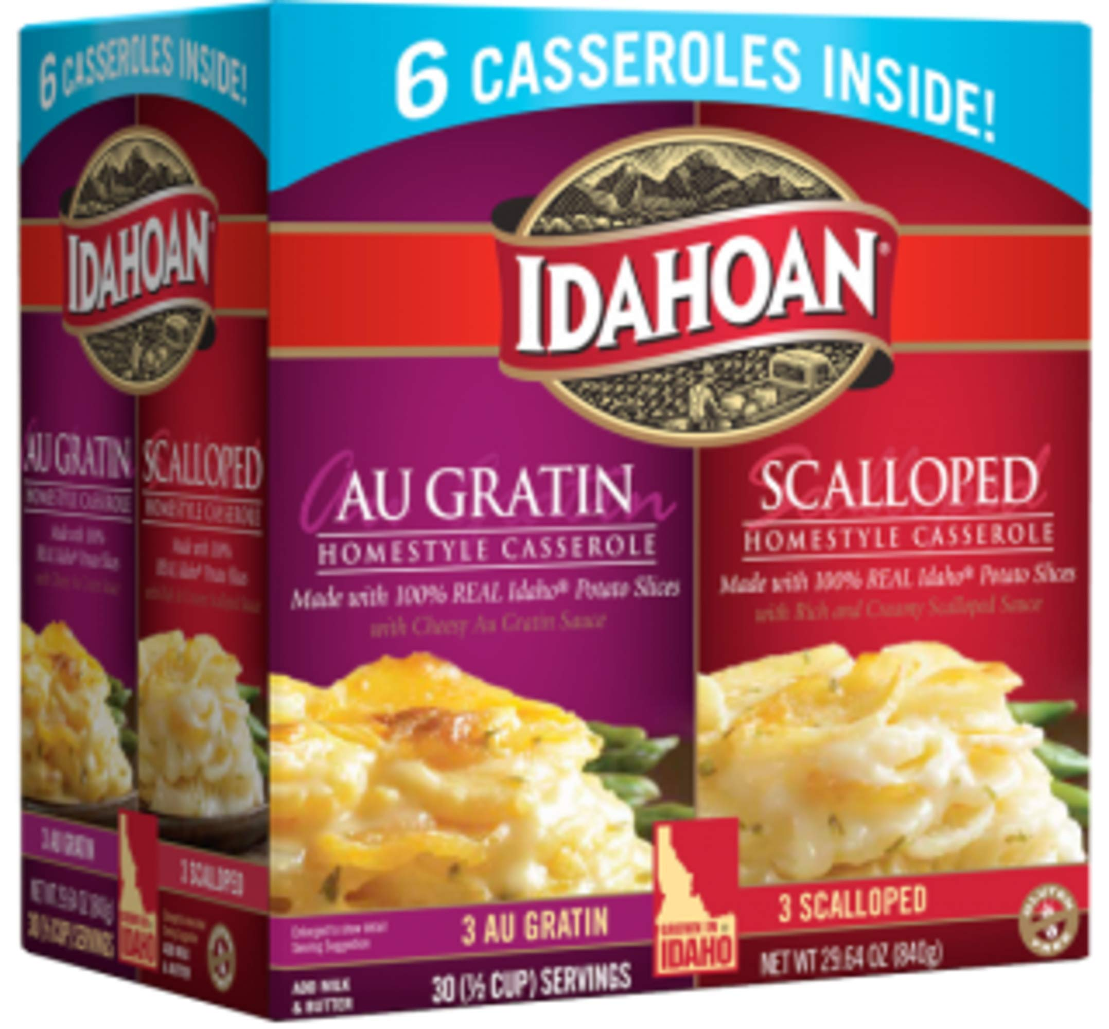 Idahoan Au Gratin and Scalloped Homestyle Casserole Potatoes, Made with Gluten-Free 100-Percent Real Idaho Potatoes, Combo Pack of 6 Boxes (5 Servings Each) by Idahoan