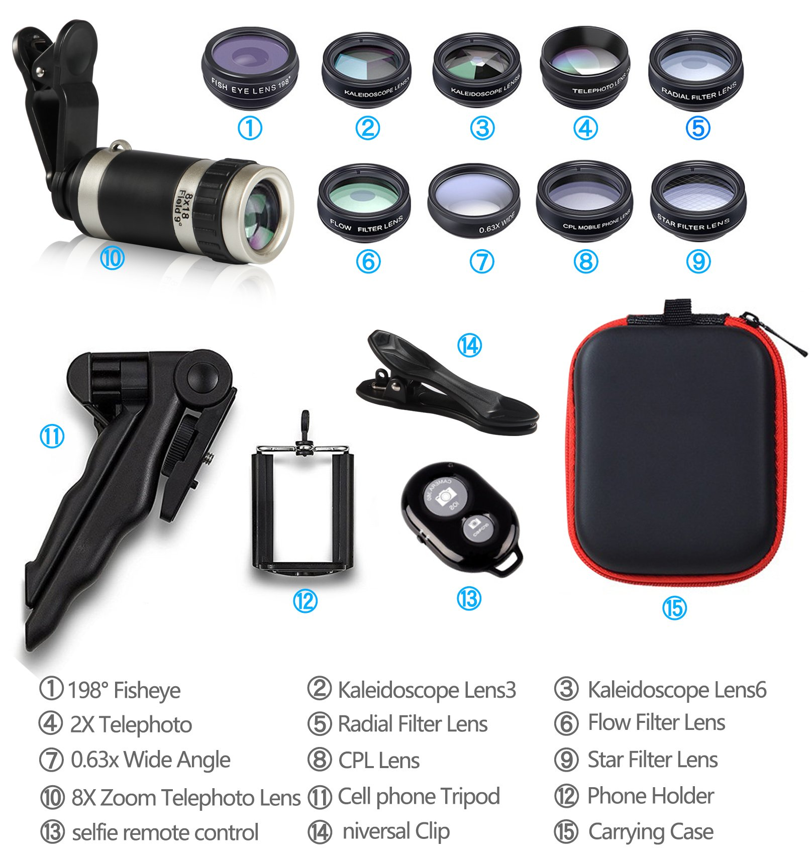 Cell Phone Camera Lens Kit by Ailuki with Professional Telephoto Lens,Wide Angle Lens+Macro Lens+Fisheye Lens, Selfie Remote Control+Tripod for iPhone Samsung Galaxy Most of Smartphone and iPad by AILUKI (Image #7)