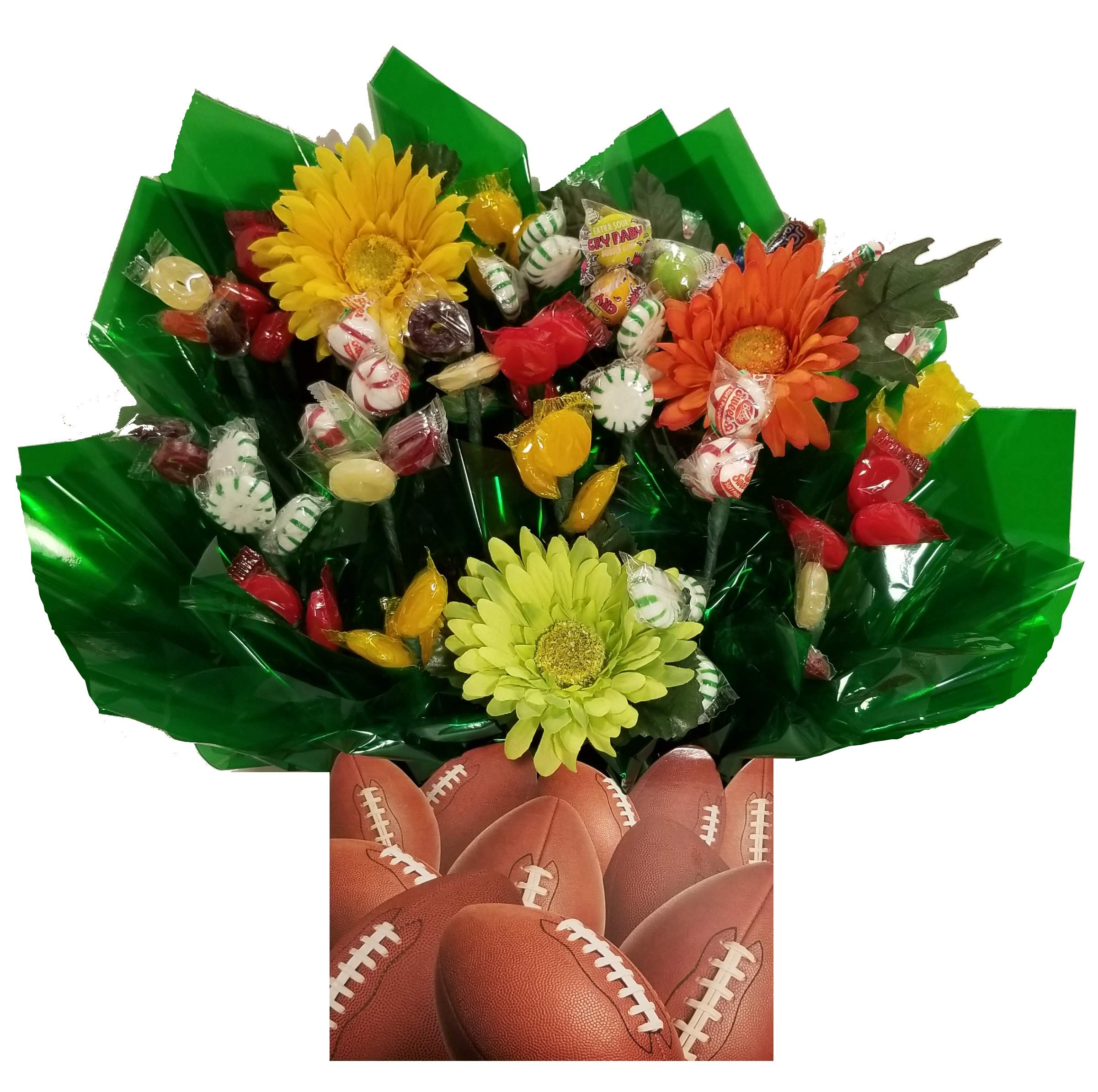 Football Gift Box with Hard Candy Bouquet - Great as a Birthday, Thank You, Get Well Soon, New Baby, New Home, Congratulations gift or for any occasion (Many OPTIONS available) by So Sweet of You
