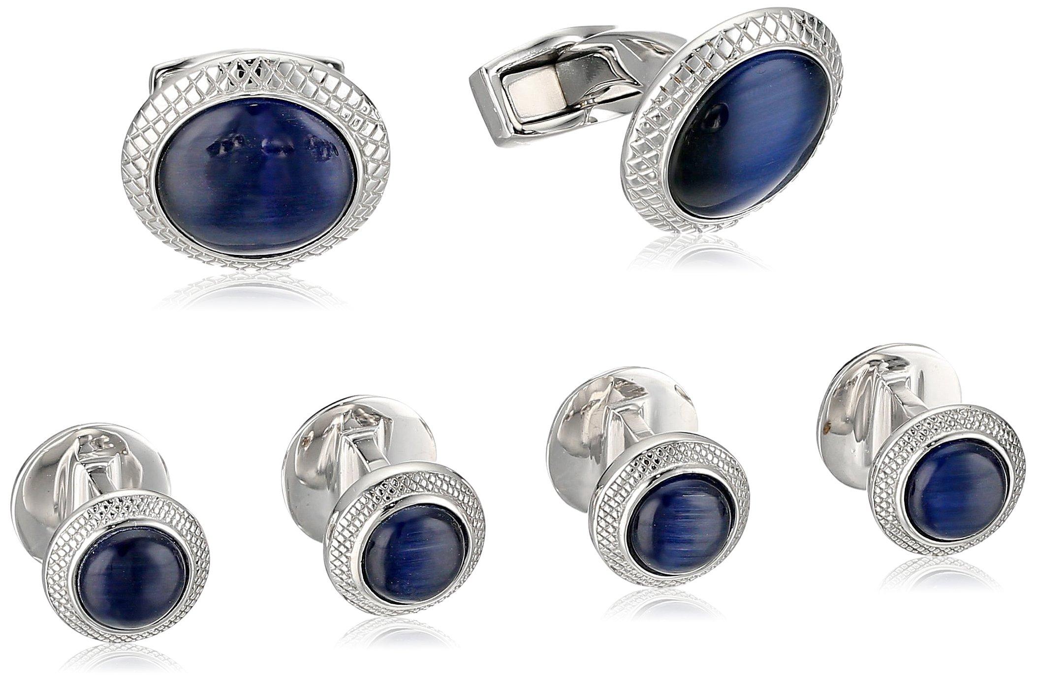 Tateossian Rhodium Plating Fiber Optic Glass Blue Cuff Link and Shirt Stud by Tateossian