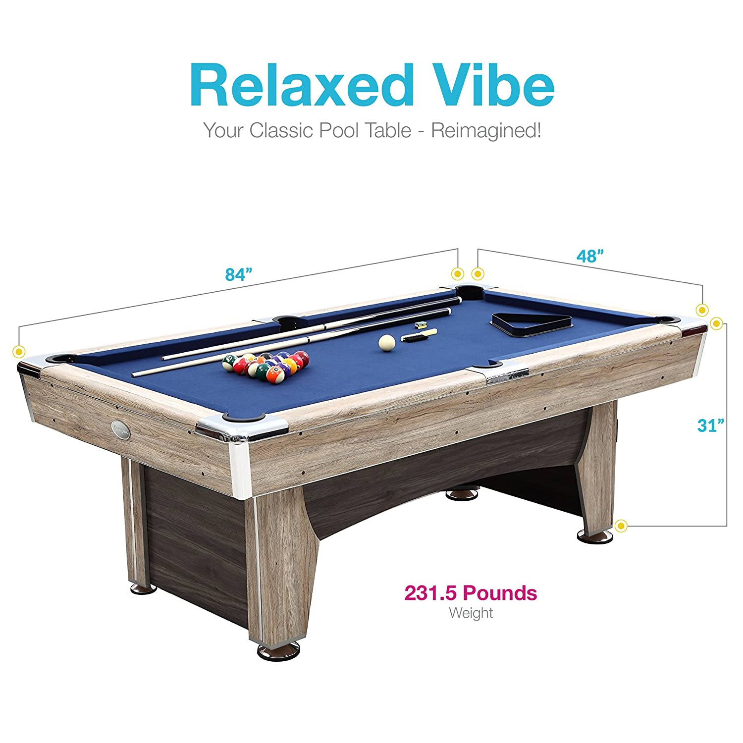 Amazon.com : Harvil Beachcomber Indoor Pool Table 84 Inches With Free  Complete Accessories Set By : Sports U0026 Outdoors