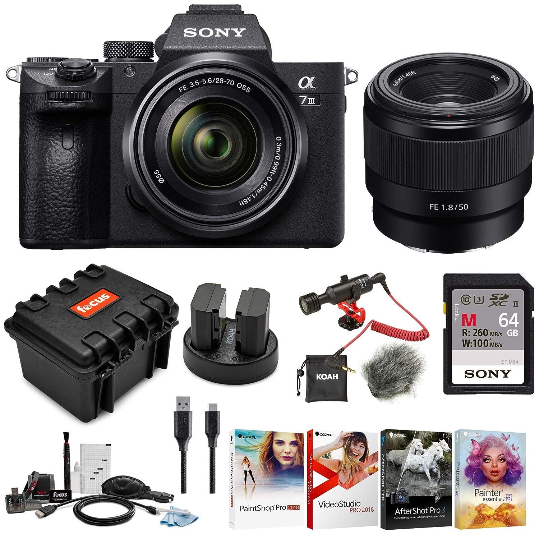 Sony a7 III Full Frame Mirrorless Interchangeable Lens Camera w/ 28-70mm &  FE 50mm f/1 8 Two Lens Kit