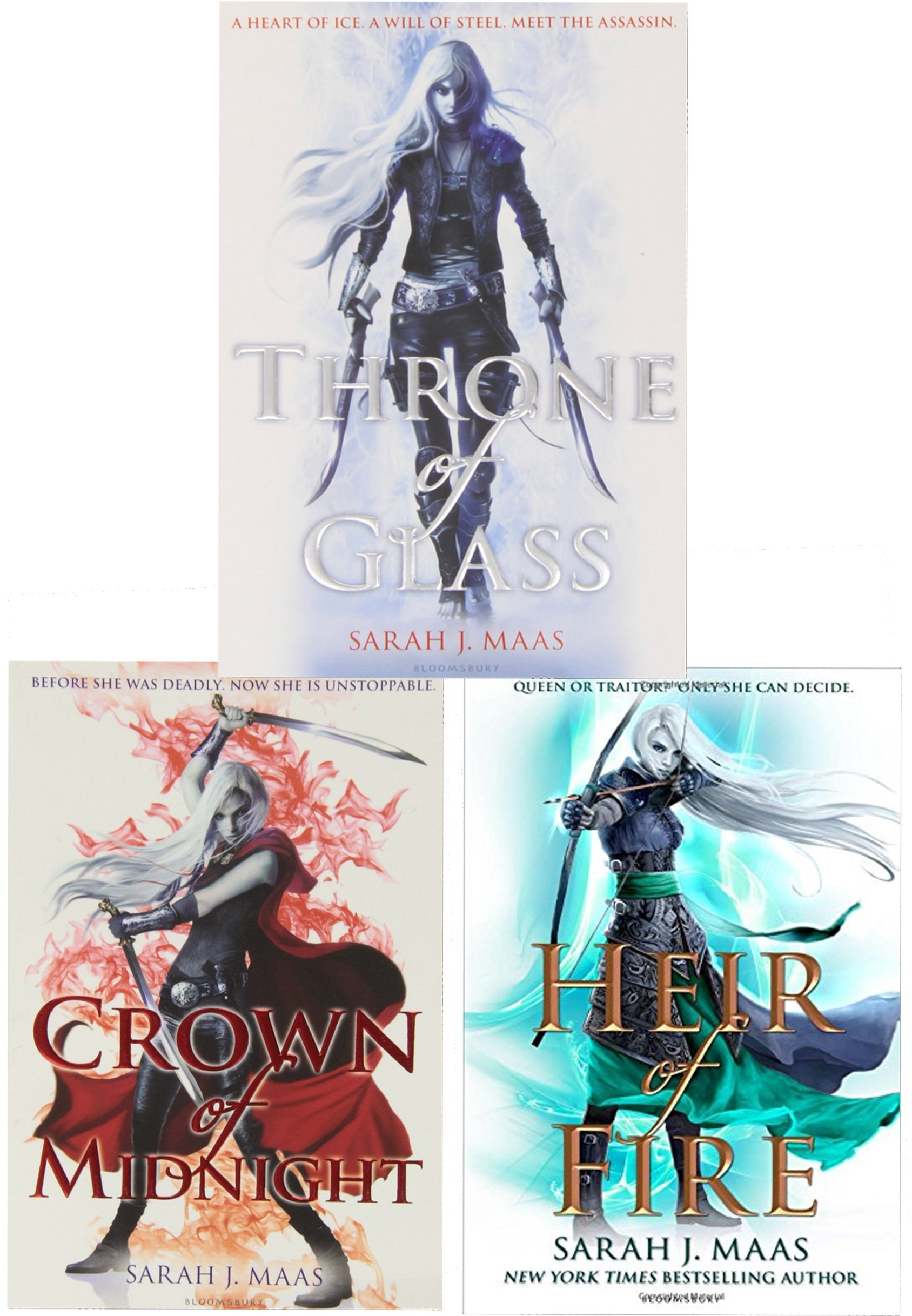 Sarah J Mass Throne Of Glass Series Collection 3 Books Set Pack