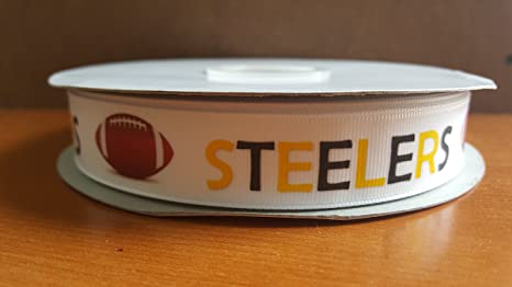 YARD OF 2 INCH WIDE PITTSBURGH STEELERS GROSGRAIN  RIBBON SOLD BY THE YARD