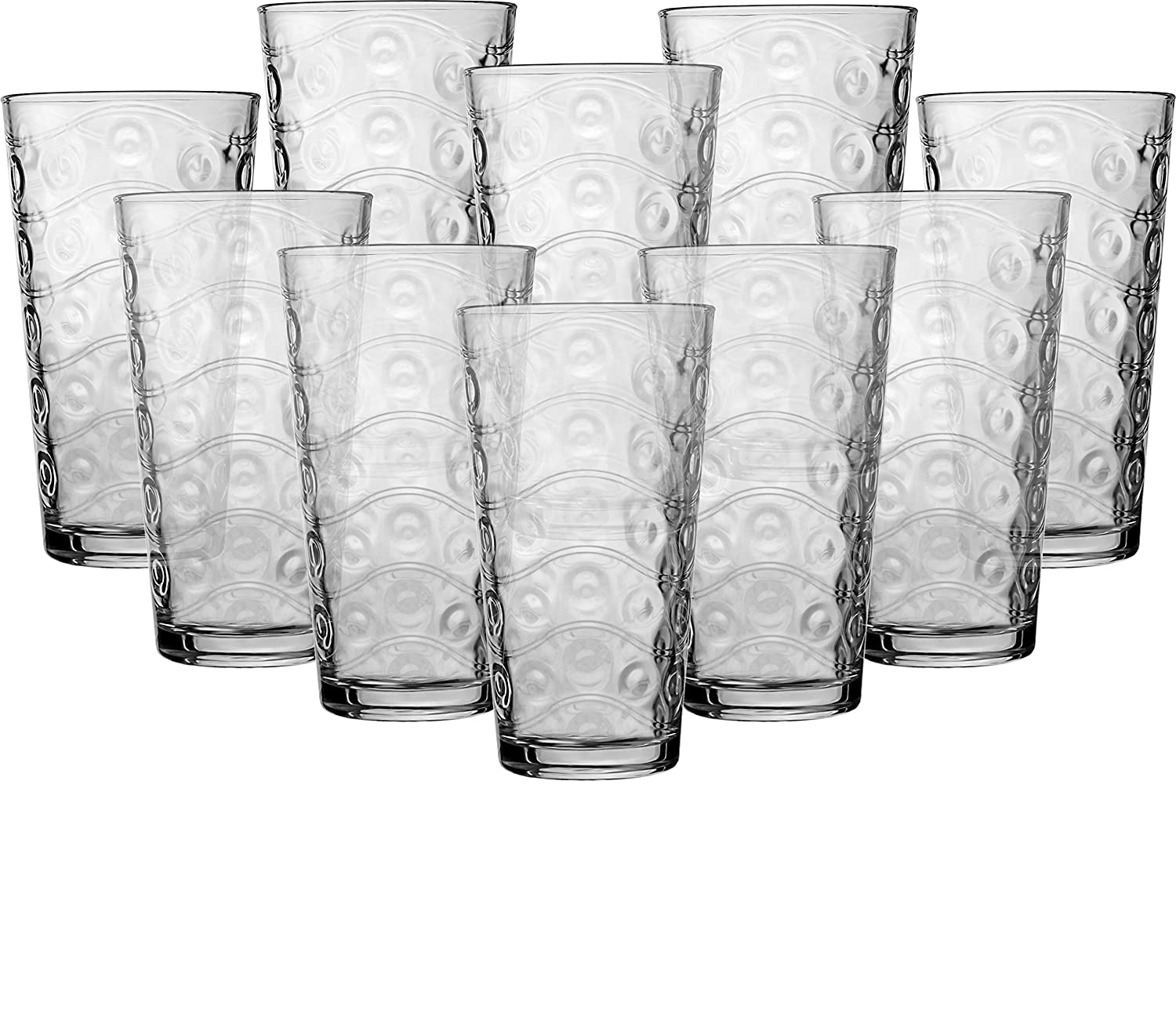 Circleware 40176 Cosmo Set of 10 Highball Tumbler Drinking Glasses, Heavy Base Ice Tea Beverage Cups Glassware for Water, Beer, Juice 15.7 oz 10pc