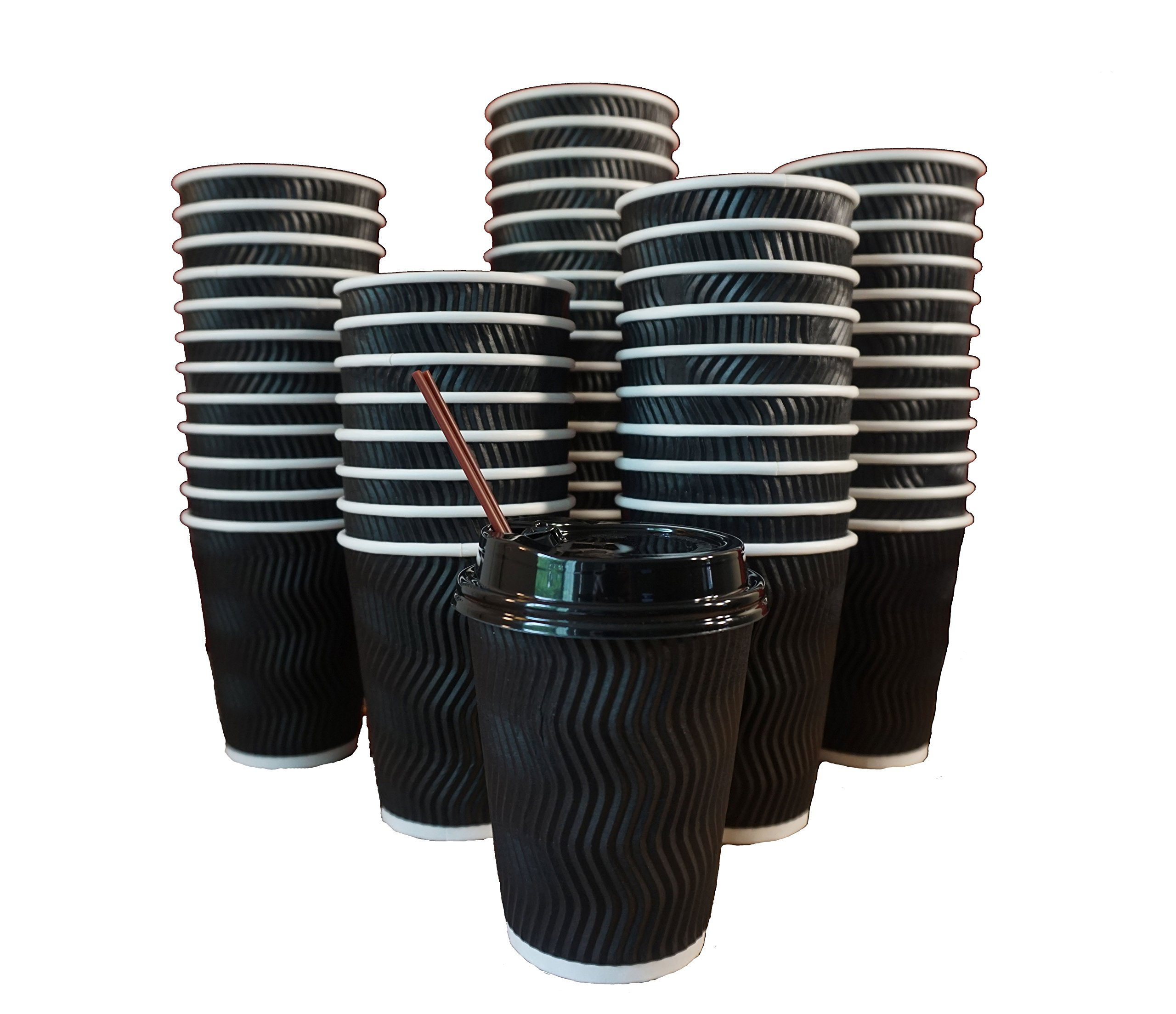 JUMBO 100 Pack | Premium Quality 12 oz Disposable Ripple wall To Go Coffee Cups for Business,Coffee lovers and everyone | Rippled Cup Insulation| Cups, Stir Straws, Lids included and NO NEED sleeve