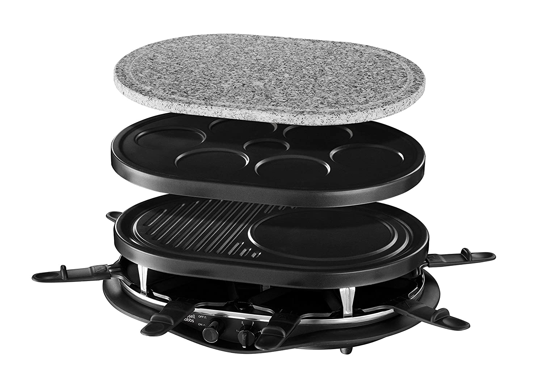Russell Hobbs Quatuor 4EN1 Multi Raclette Fiesta 21000-56, 1200 W, Metal, Negro: Amazon.es: Hogar