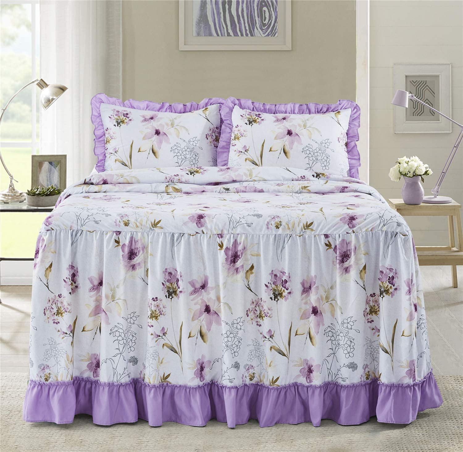 bednlinens/&things 3PC Feminine Alina Aqua, Queen Shabby Chic Ruffle Skirt Bedspread Stylish Comfy Decorative Cover Twin Queen King