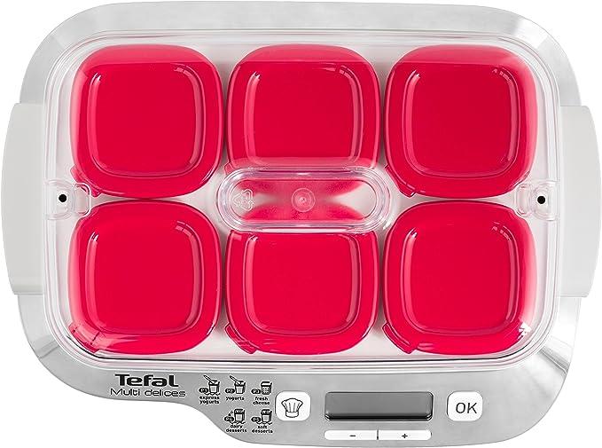 Tefal Multidelices Express YG660120 - Yogurtera eléctrica con 5 programas y función Exprés de 4 horas, incluye 6 vasos con tapa, bandeja y libro de recetas, para halcer yogures artesanos: Amazon.es: Hogar