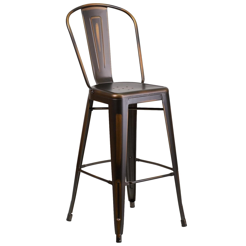 Amazon Flash Furniture 30 High Distressed Copper Metal