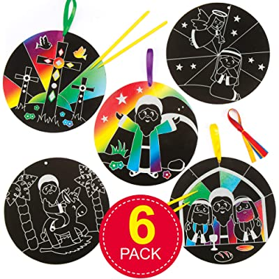 Baker Ross Holy Week Scratch Art Decorations for Kids (Pack of 6) Perfect for Easter Arts, Crafts and Decorating for Boys and Girls: Toys & Games