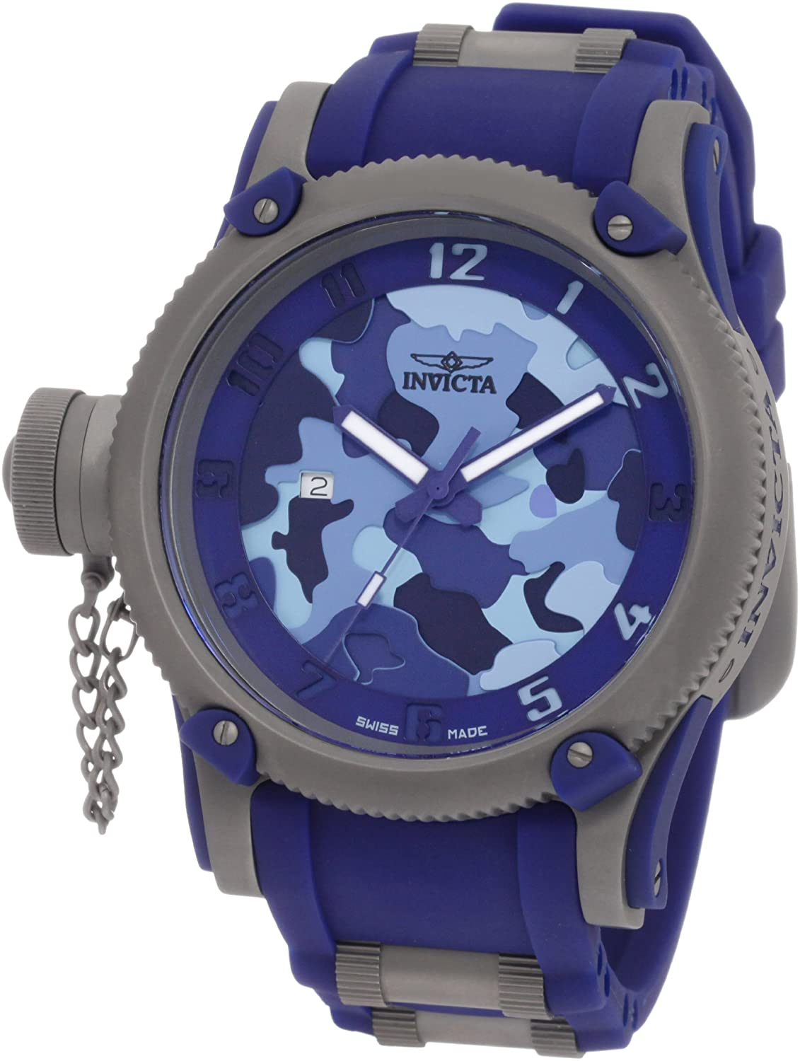 Invicta Men s 1201 Russian Diver Blue Camouflage Dial Polyurethane Watch