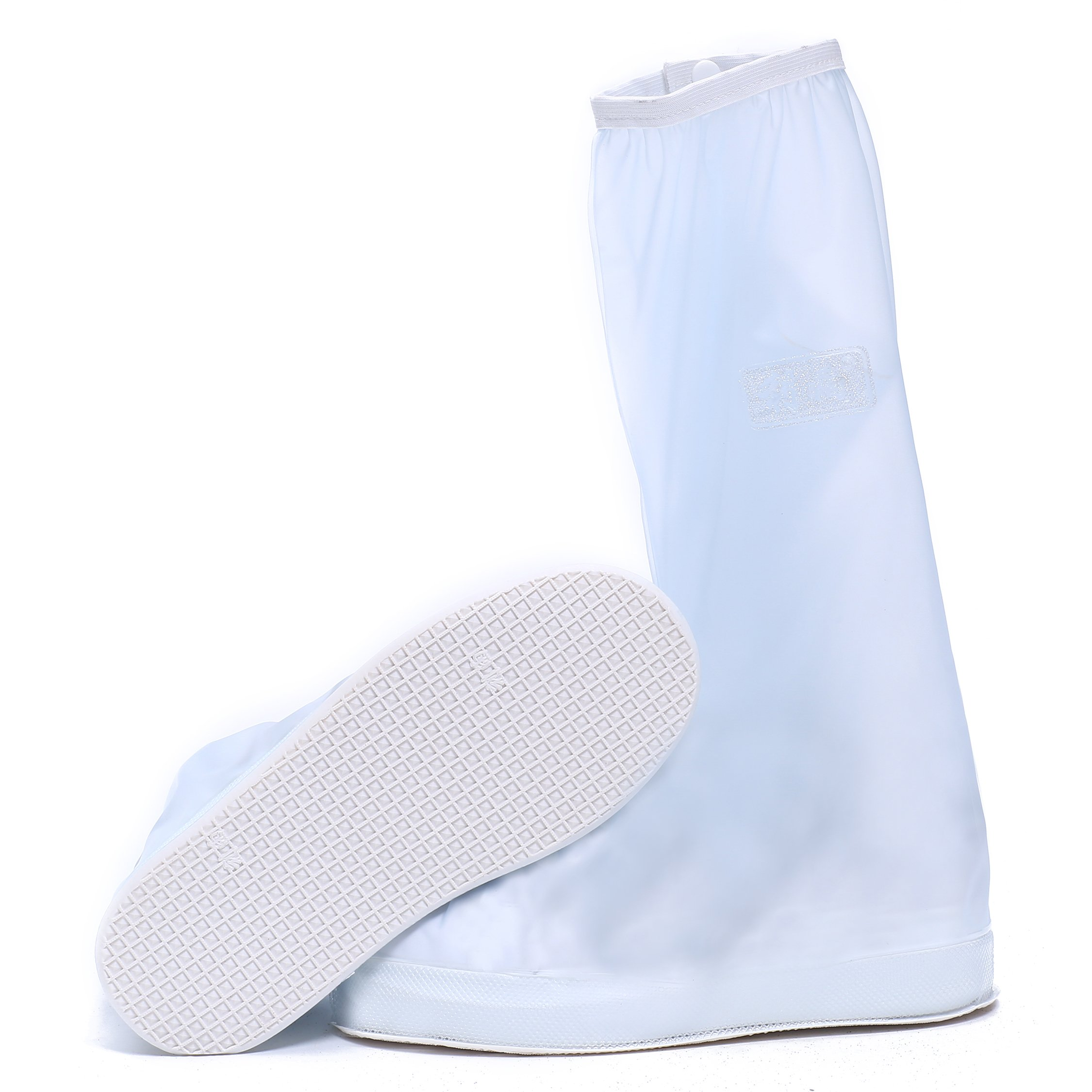 CISSETINA Reusable Waterproof Non-Slip Shoe Covers Unisex Rainy Shoes Covers (M, A0002-White)