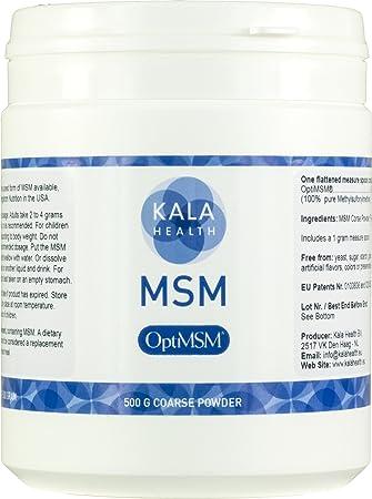 Kala Health - OptiMSM® (Methylsulfonylmethane) MSM Powder Coarse Flakes  (Crystals) 500g, pure Organic Sulphur for Joints, Skin, Hair & Nails,  produced