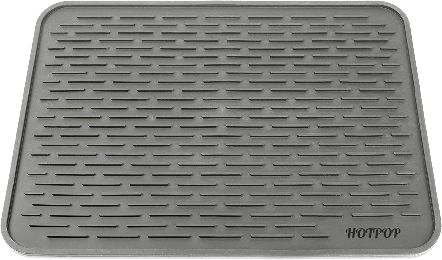 "HOTPOP XXL (24""x18"") Super Sturdy Silicone Dish Drying Mat and Trivet, Dishwasher Safe, Heat Resistant, Eco-Friendly (Gray)"
