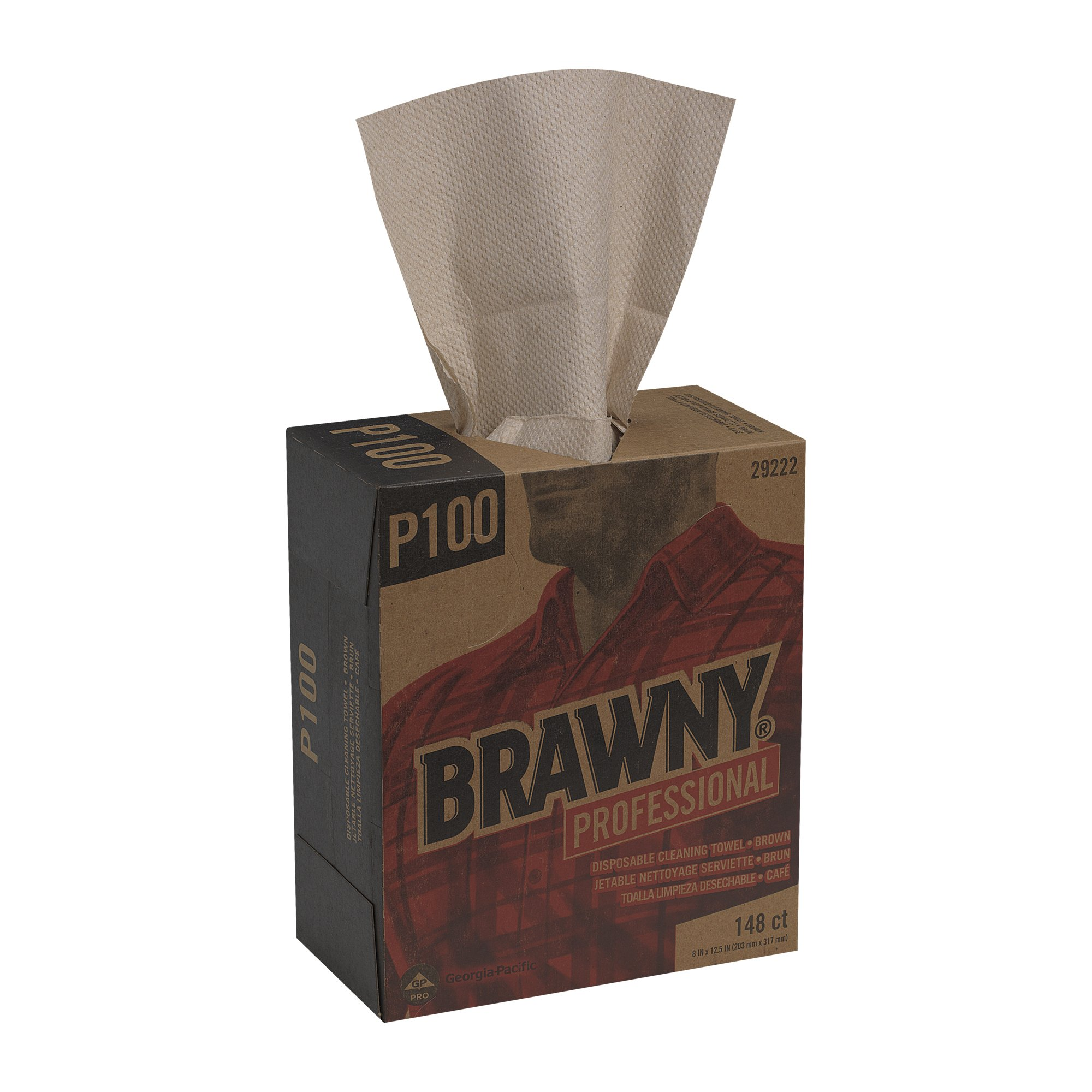 GP PRO Brawny Professional P100 Disposable Cleaning Towel, Tall Box, Brown