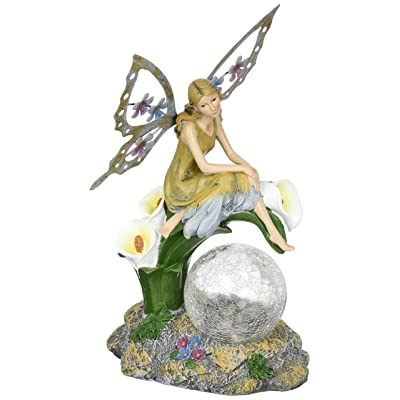 Solaration8482; Fairy on Calla Lilies Solar Light with Crackle Glass Globe, 11-Inch : Lawn And Garden Spreaders : Garden & Outdoor