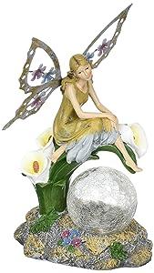 Solaration8482; Fairy on Calla Lilies Solar Light with Crackle Glass Globe, 11-Inch