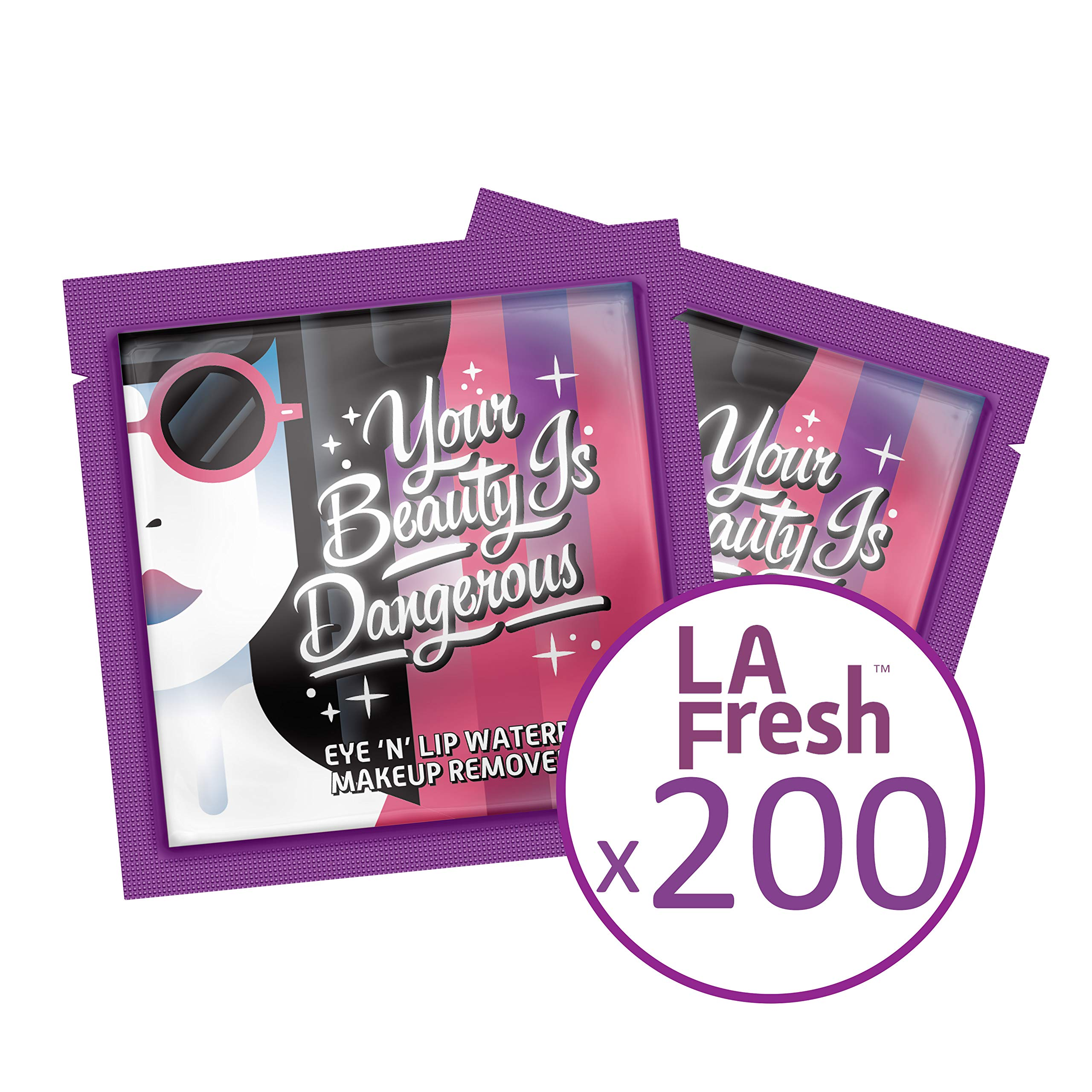 LA Fresh Highly Natural Travel-Friendly, Eyes and Lips Waterproof Makeup Remover Wipes with Lavender Essential oil, Individually Sealed Packets (200 Packets)