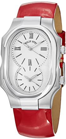 92ec81e4b Image Unavailable. Image not available for. Color: Philip Stein Signature  Large Shiny Red Leather Strap Dual Time Watch 2-NCW-LR
