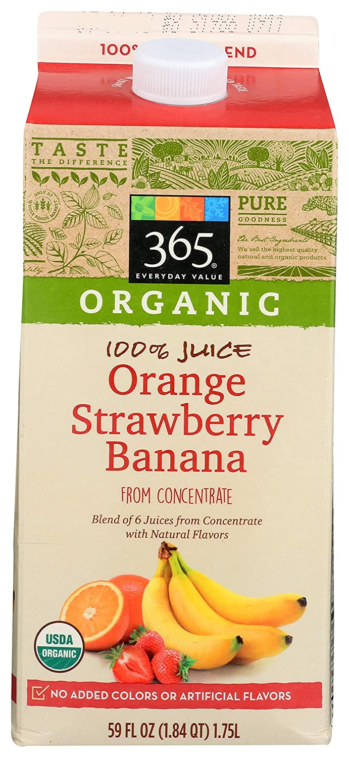 365 Everyday Value, Refrigerated Organic 100% Orange - Strawberry - Banana Juice, Calcium & Vitamin D (From Concentrate), 59 Fl Oz