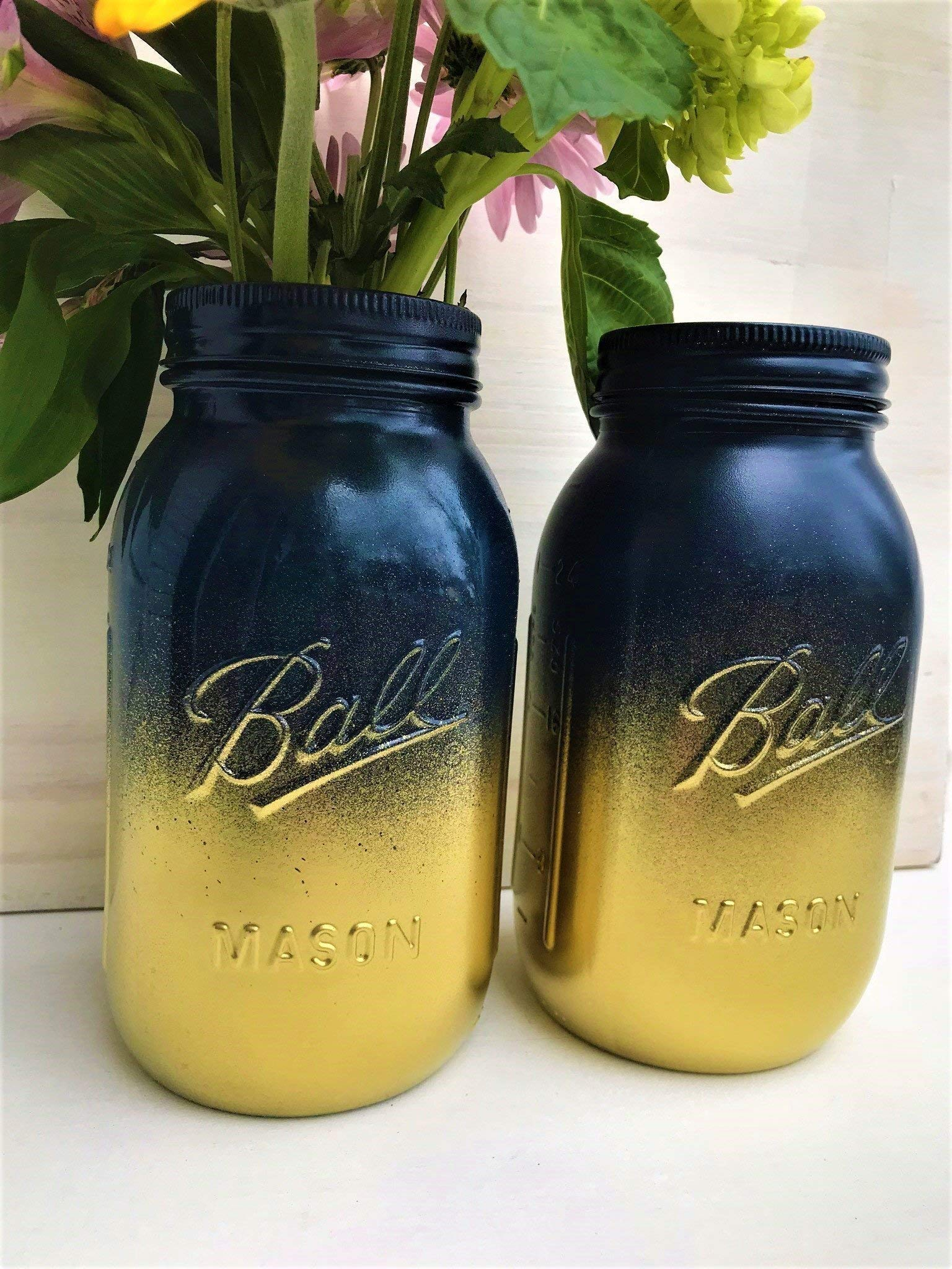 Set Of 2 Navy Blue And Gold Painted Mason Jars Centerpieces Nautical