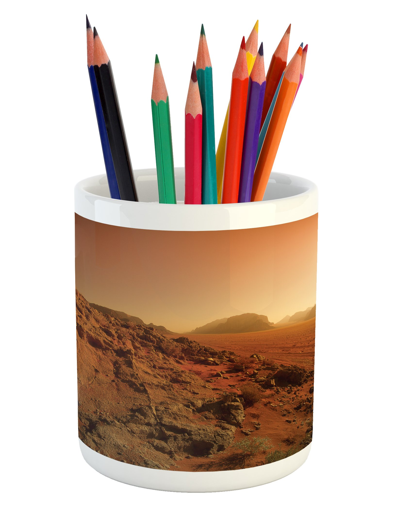 Ambesonne Galaxy Pencil Pen Holder, Landscape from the Movie Fantastic Fictional Galaxy Clash Pattern Sunset Mountains, Printed Ceramic Pencil Pen Holder for Desk Office Accessory, Brown Yellow