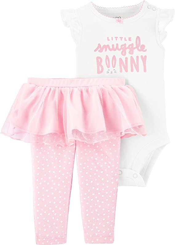 Carter's $22 Happy Easter Outfit 3m Baby Girl set NWT Bunny Rabbit on Bottom 1st