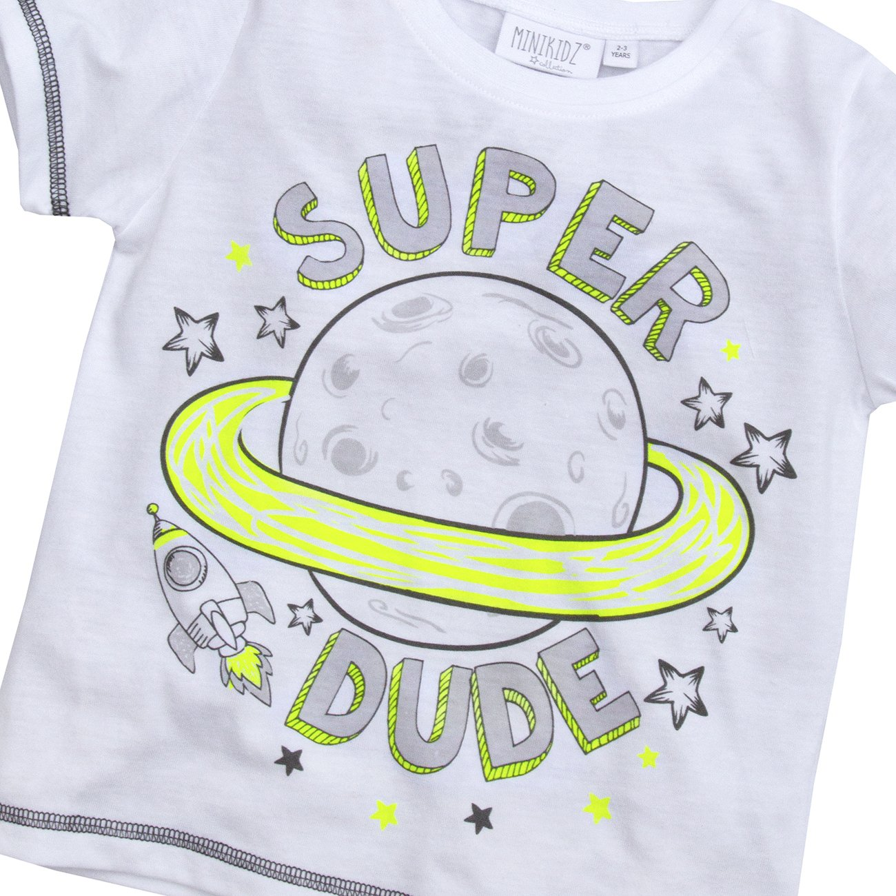 MiniKidz Boys Super Dude T Shirt and Shorts Set ~ Space//Rocket ~ 2-6 Years