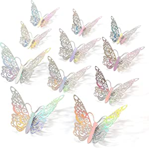 Rotumaty 3D Butterfly Wall Stickers, 36 PCS Butterfly Wall Decals for Room Decoration Kids Bedroom Party Wedding Home Decor (Silver)