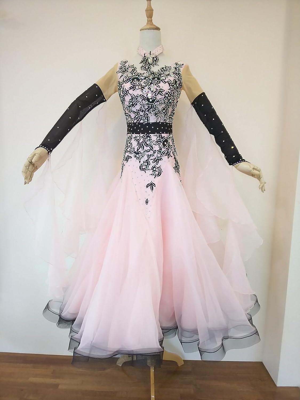 社交ダンスドレス スタンダード用ピンクブラック M-Lサイズ