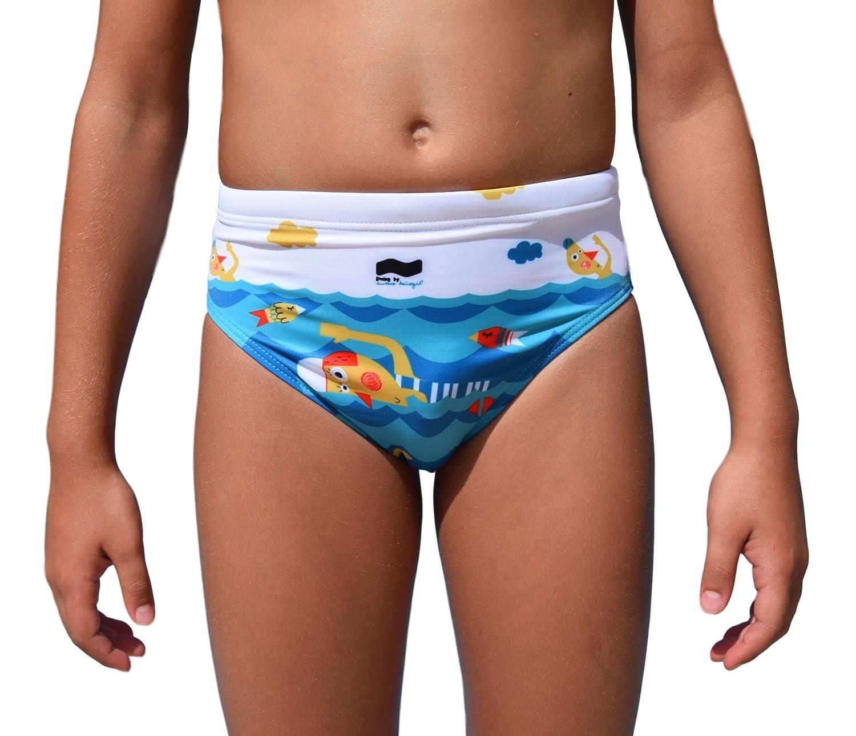 swimgo Swimmers Design–Costume da Bagno da Allenamento per Bambini, con Motivo di nuotatori
