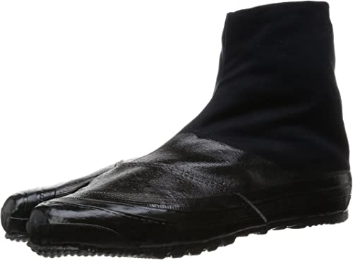 Marugo Jitsuyou All Black Japanese Tabi Shoes Black with 12 Clips