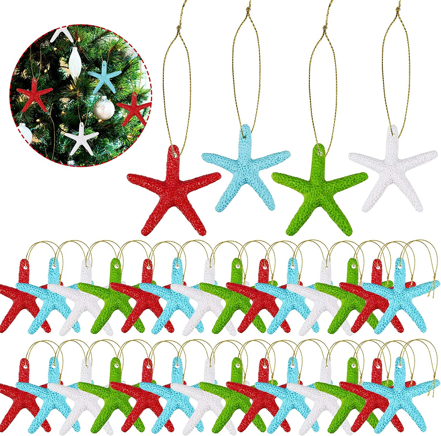 32 Pieces Multi-colored Resin Pencil Finger Starfish with Gold Rope Starfish Decorative Ornaments for Christmas Tree Hanging Ornaments Beach Theme Wedding Home Decor and DIY Craft Project, 2.3 Inches