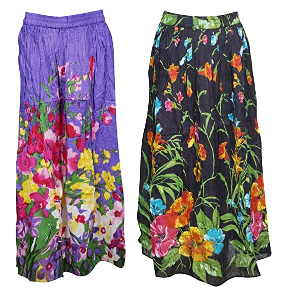 0938385a7 Mogul Interior 2Pc Womens Long Skirt Floral Printed Cotton Flared ...