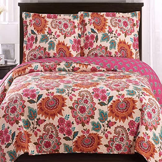 Boho Style Quilt Set 3 Piece Full//Queen Bohemian Reversible Paisley Coverlet NEW