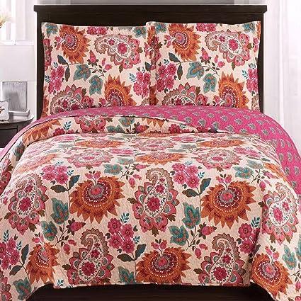 Amazon Com Modern Coverlet Quilt Shams Set Floral Paisley Print
