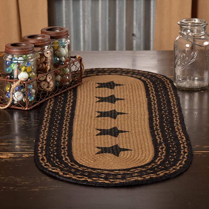 "VHC Brands Classic Country Primitive Tabletop & Kitchen - Farmhouse Jute Black Stencil Stars Runner, 13"" x 36"""