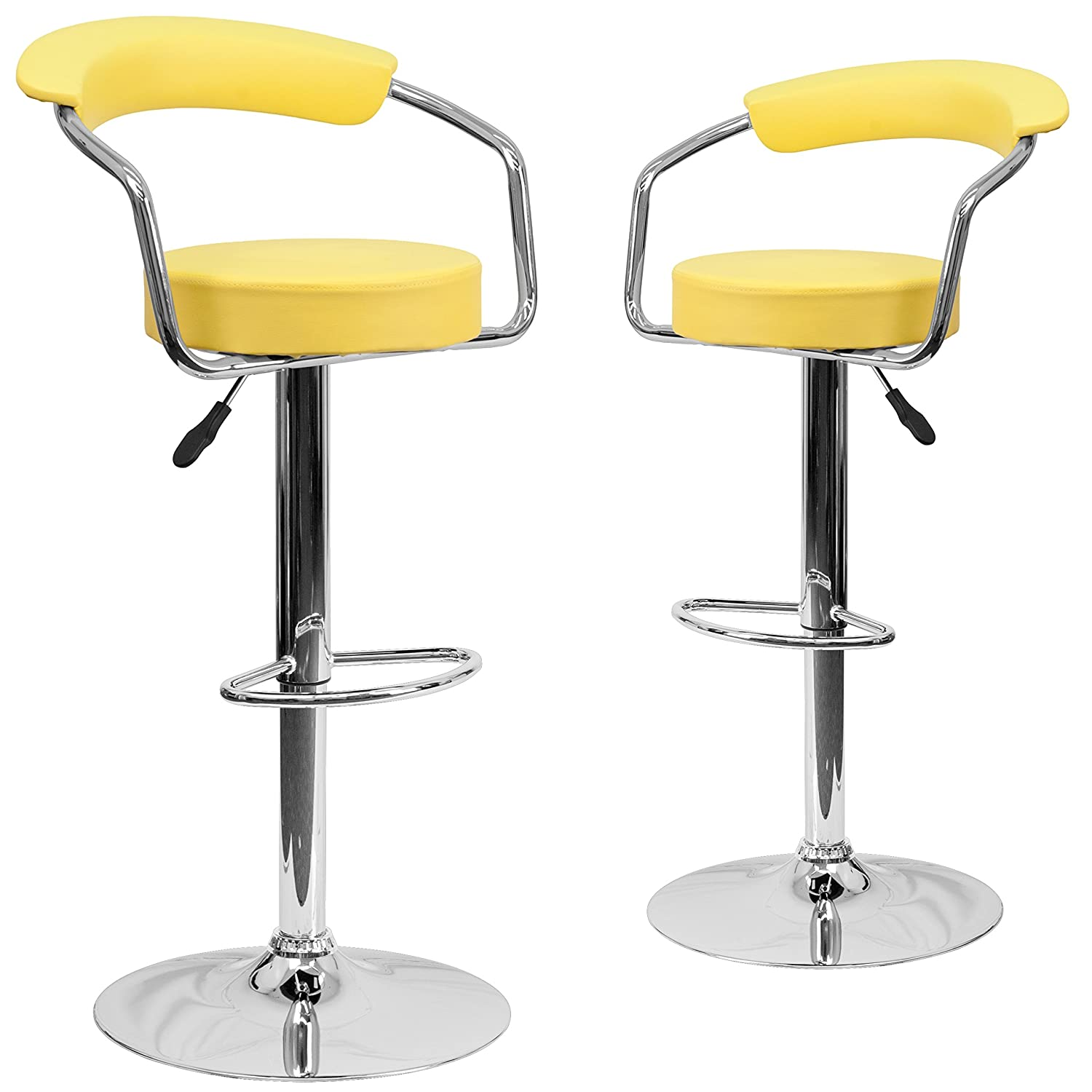 Yellow 2 Pack Flash Furniture 2 Pk. Contemporary Red Vinyl Adjustable Height Barstool with Arms and Chrome Base