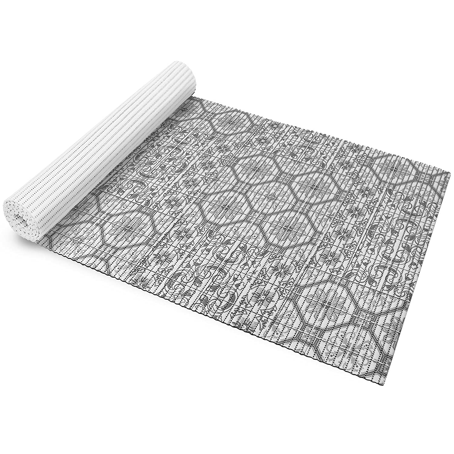 casa pura Foam Bath Mat | Non-Slip, Fast Drying Bathroom Rug | REACH Certified | Secure Grip, Washable | Grey Oriental Design, 65x50cm