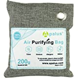 APALUS 200g Natural Air Purifying Bag. Odor Eliminator for Cars, Closets, Bathrooms and Pet Areas. Captures and Eliminates Odors. Bamboo Activated Charcoal Air Freshener, Deodorizer and Purifier Bags - 100% Natural & Chemical Free Moisture, Odor Absorber, Odor Neutralizer & Mold Removal Kit, Charcoal Color