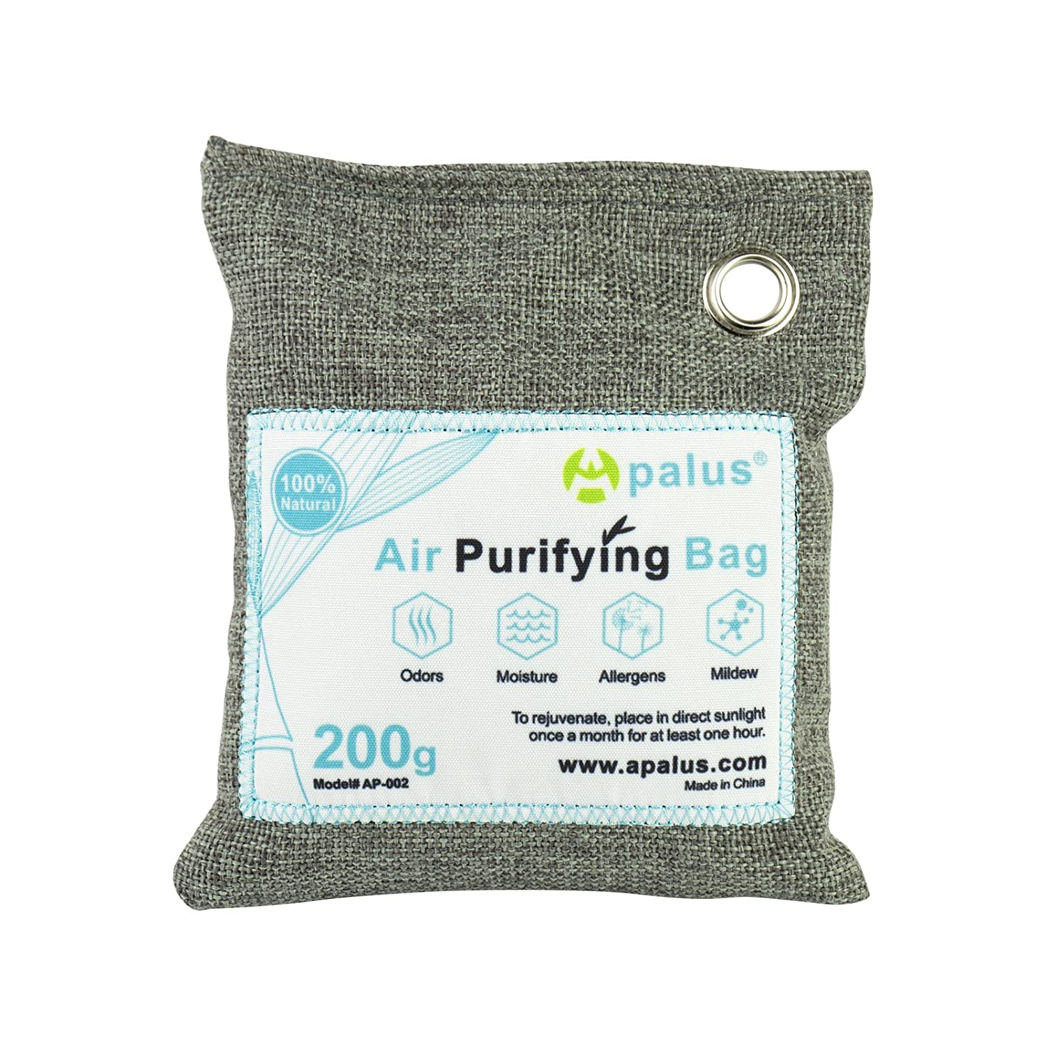 Apalus Air Purifying Bag, Bamboo Activated Charcoal Air Freshener, Car Air Dehumidifier, Deodorizer and Purifier Bags-100% Natural & Chemical Free Moisture, Odor Absorber, 200G AP-002