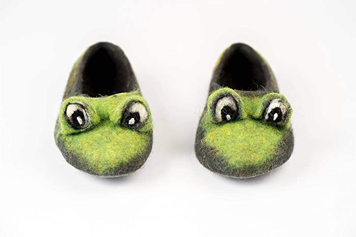 6283603caceb Amazon.com: Green Frog kids felted wool slippers, Handmade home shoes with  non slip soles: Handmade