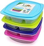 LUNCHY Lunchbox Set 4 Stück Bento Box Brotzeitbox Kinder auslaufsicher Brotzeitdose Kinder Meal-Prep Boxen Lunch Box mit 4 Fächern mit Trennwand für Kinder und Erwachsene