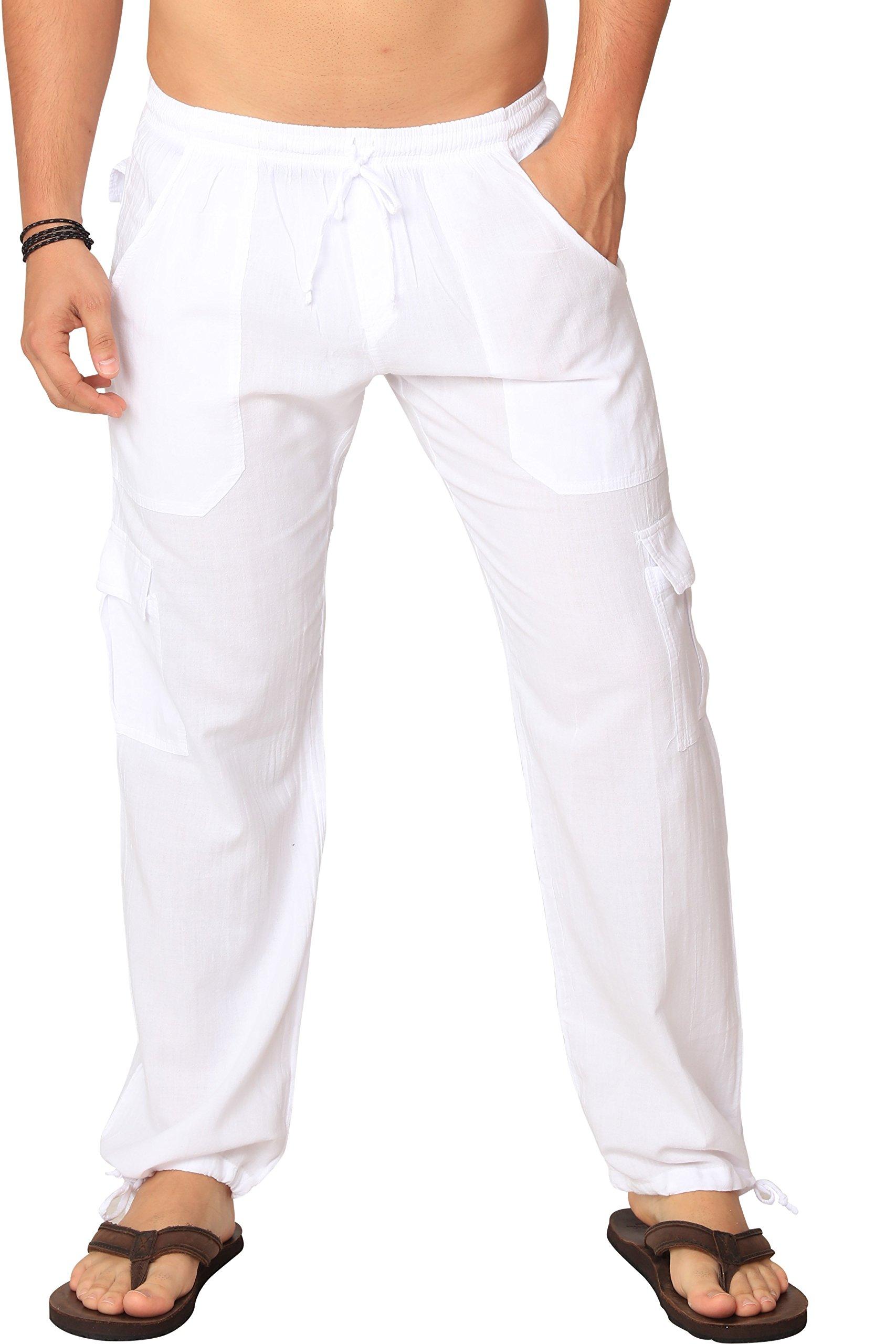 M&B USA Cotton White Cargo Pants Summer Beach Elastic Waistband Casual Pants (X-Large, White)