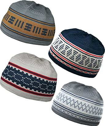 bce1d07c80d Image Unavailable. Image not available for. Color  Al-Ameen 4 Color Muslim  Beanie Skull Cap AMN055 Islam Kufi Hat Crochet Taqiyah Takke